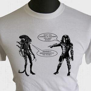 725a8a3d Alien vs Predator Joke T Shirt Cockney Essex AVP Xenomorph Cool ...