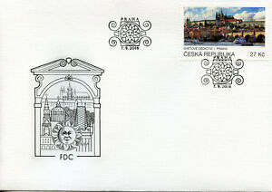 Czech-Rep-2016-FDC-UNESCO-World-Heritage-Prague-1v-Cover-Architecture-Stamps