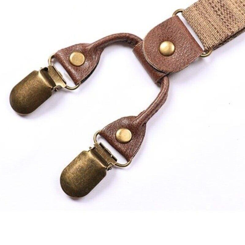 Herren Hosenträger Schwerlast Elastisch Y-Rücken Verstellbar Strapse Brown 25mm