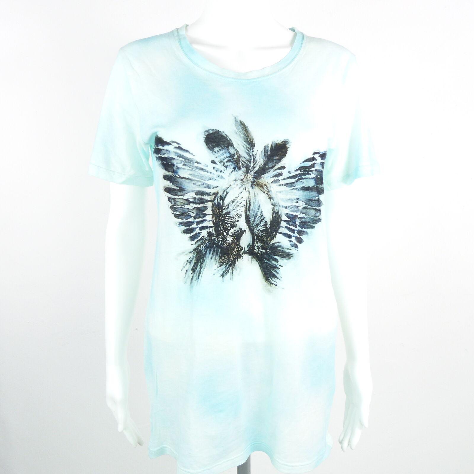 BALMAIN Shirt Gr. DE34 blau Damen Transparent T-Shirt Oberteil Tee Top Neuwertig