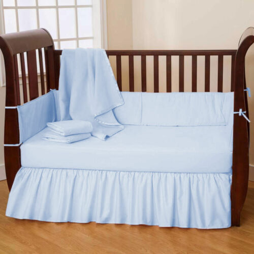 5 Piece Unisex Baby Crib Bedding set Fitted Pillowcase Comforter BedSkirt Solid
