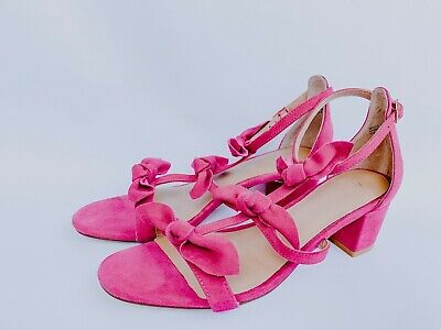 ANTHROPOLOGIE Suede Bow Pink//Black//Yellow T-Strap Open-toe Sandals Sz.7,8,8.5,10