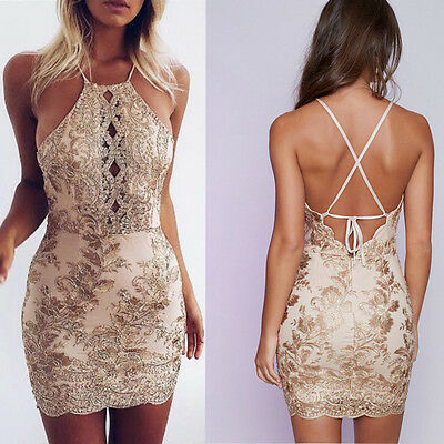 Womens Sequins Deep V-Neck Bandage Bodycon Club Cocktail Party Mini Dress