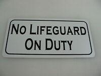 No Lifeguard On Duty Metal Sign For Beach Pool Lake Marina Chair Station