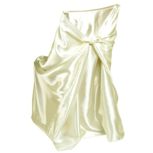 50 Satin Universal Fit Self Tie Bow Chair Covers Party Banquet Folding Plastic