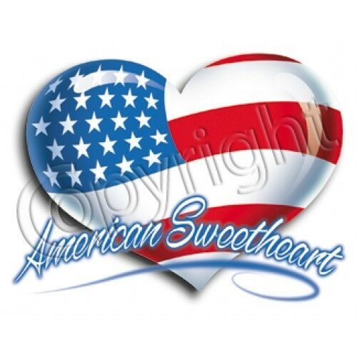American Sweetheart Patriotic HEAT PRESS TRANSFER for Shirt Tote Sweatshirt #024