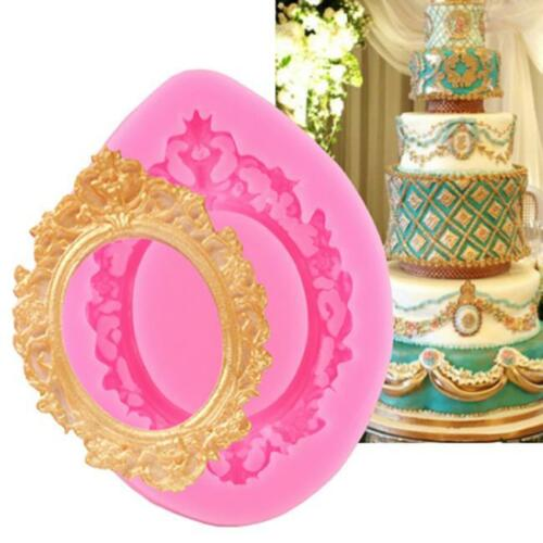 Silicone Mirror Picture Frame Fondant Mold Cake Decorating Sugarcraft Mould FB