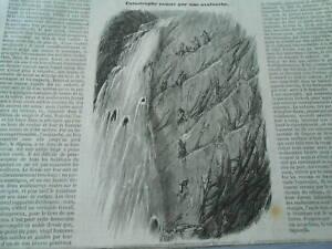 Gravure 1853 - Catastrophe Causée Par Une Avalance Pratique Pour Cuire
