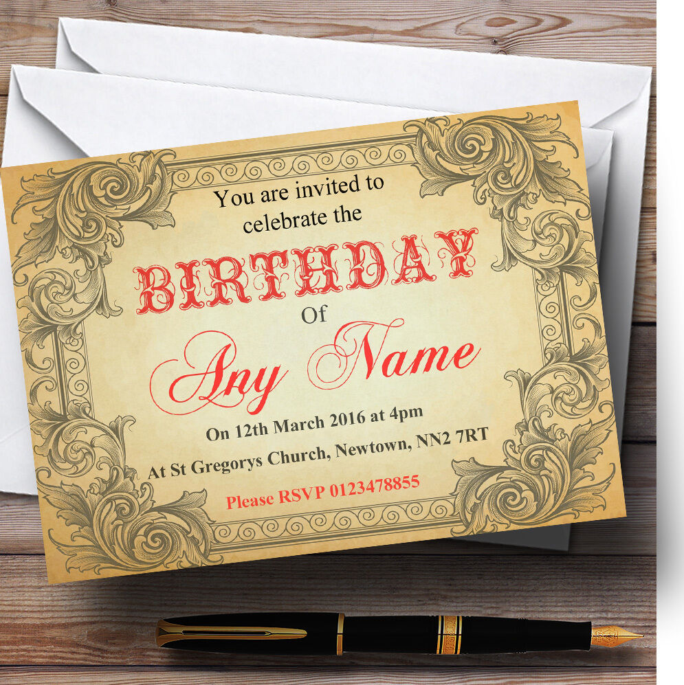 Typography Vintage rot Postcard Personalised Birthday Birthday Birthday Party Invitations 9c98e8