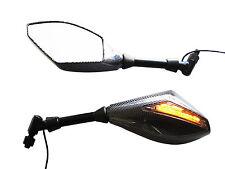Universal Moto Moto De Carbono Look e-marked Espejos Con Led Indicadores