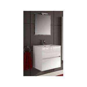 Détails Sur Meuble De Salle De Bain Toilette 70 Cm Suspendu Avec Evier Lavabo Vasque Blanc