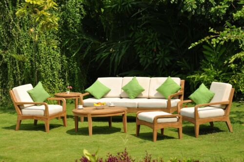 Noida A-Grade Teak Wood 6pc Large Sofa Lounge Chair Set Round Coffee Tbl Outdoor 9780813026206