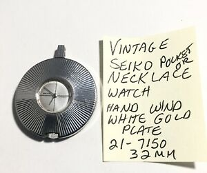 Vintage-Seiko-White-Gold-Plate-Necklace-Hand-Wind-Running-32mm