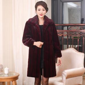 Mom/'s Winter Warm Real Mink Fur Outwear Coat Parka Jacket Women/'s Overcoat M-6XL
