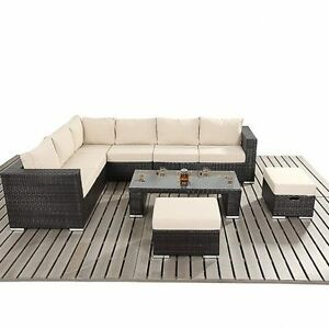 Modern Rattan Corner Sofa, Rattan Stools and Coffee Table Set ...