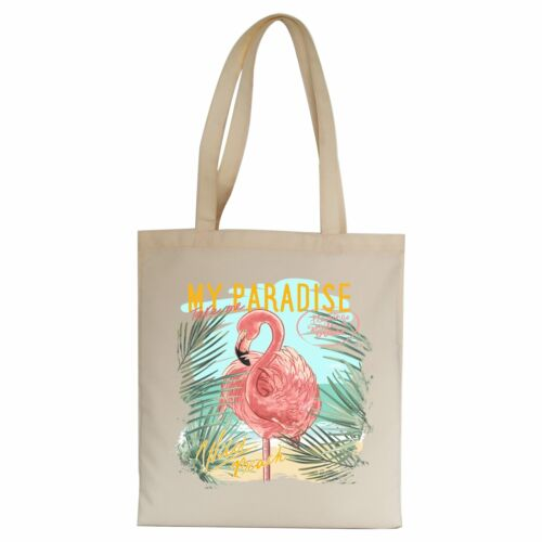 My paradise flamingo illustration tote bag canvas shopping