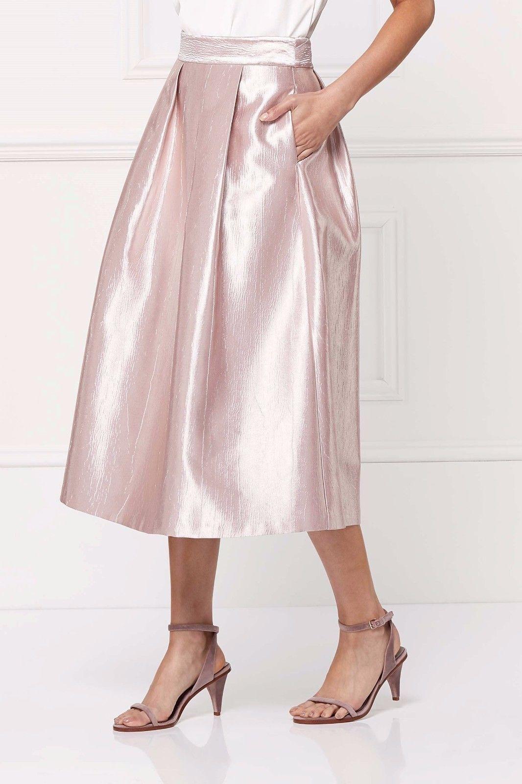 Gorgeous Next Midi Metallic High Waist Pink Party Wedding Full Skirt Size 12p