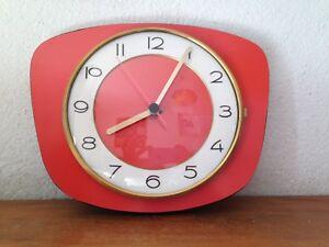 Horloge Pendule Formica Flash Rouge Vintage An 60 S 70 S Ebay