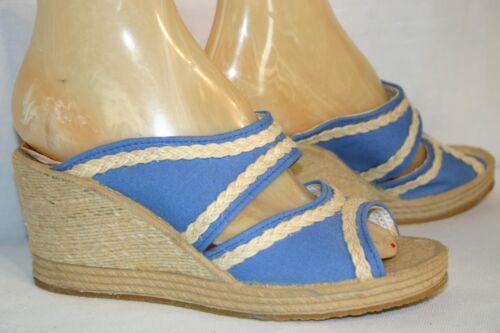 7 NOS Vtg 60s 70s Mules Sandals Blue Canvas Jute