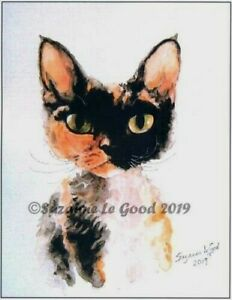 Devon-Rex-Cat-art-print-from-original-painting-Limited-Edition-Suzanne-Le-Good
