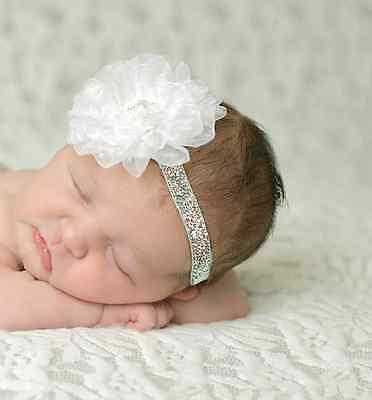 ★★★NEU Baby Fotoshooting Haarband Viele Farben Band mit Spitze Nr.C1 ★★★