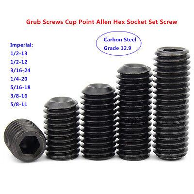 "Imperial 1//2/"" 3//16/"" 1//4/"" 5//16/"" 3//8/"" Grub Screw Cup Point Allen Hex-Key Set Screw"