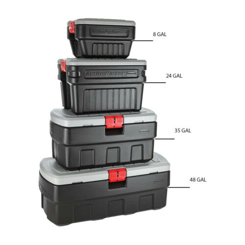 Black Rubbermaid 35 Gallon Action Packer Lockable Latch Storage Box Container