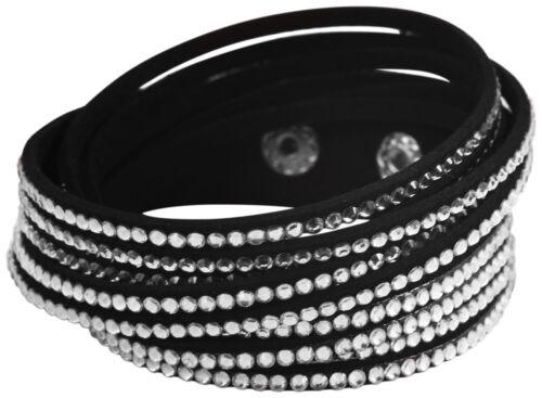 Wickelarmband Schwarz Strass Damen Armband Slaker Glitzer Geschenk Bracelet WOW