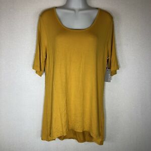 NWT-Kenar-Women-s-Mustard-Yellow-Short-Sleeve-Tunic-Blouse-Shirt-Size-Large