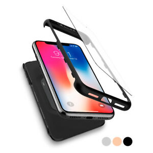 huge selection of 4b003 f3f8b Details about For iPhone X 10   Spigen® [Thin Fit 360] Case Cover Tempered  Glass Shockproof