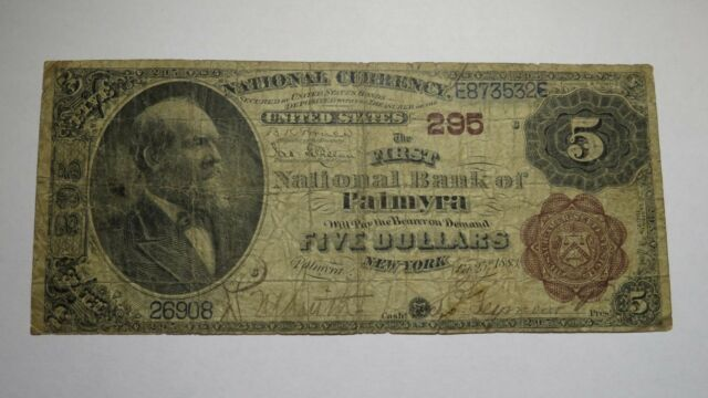 $5 1882 Palmyra New York NY National Currency Bank Note Bill! Ch #295 Brown Back