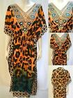 PLUS SIZE TRIBAL LEOPARD PRINT KAFTAN MAXI DRESS ORANGE 18 20 22 24 26 28 30 32