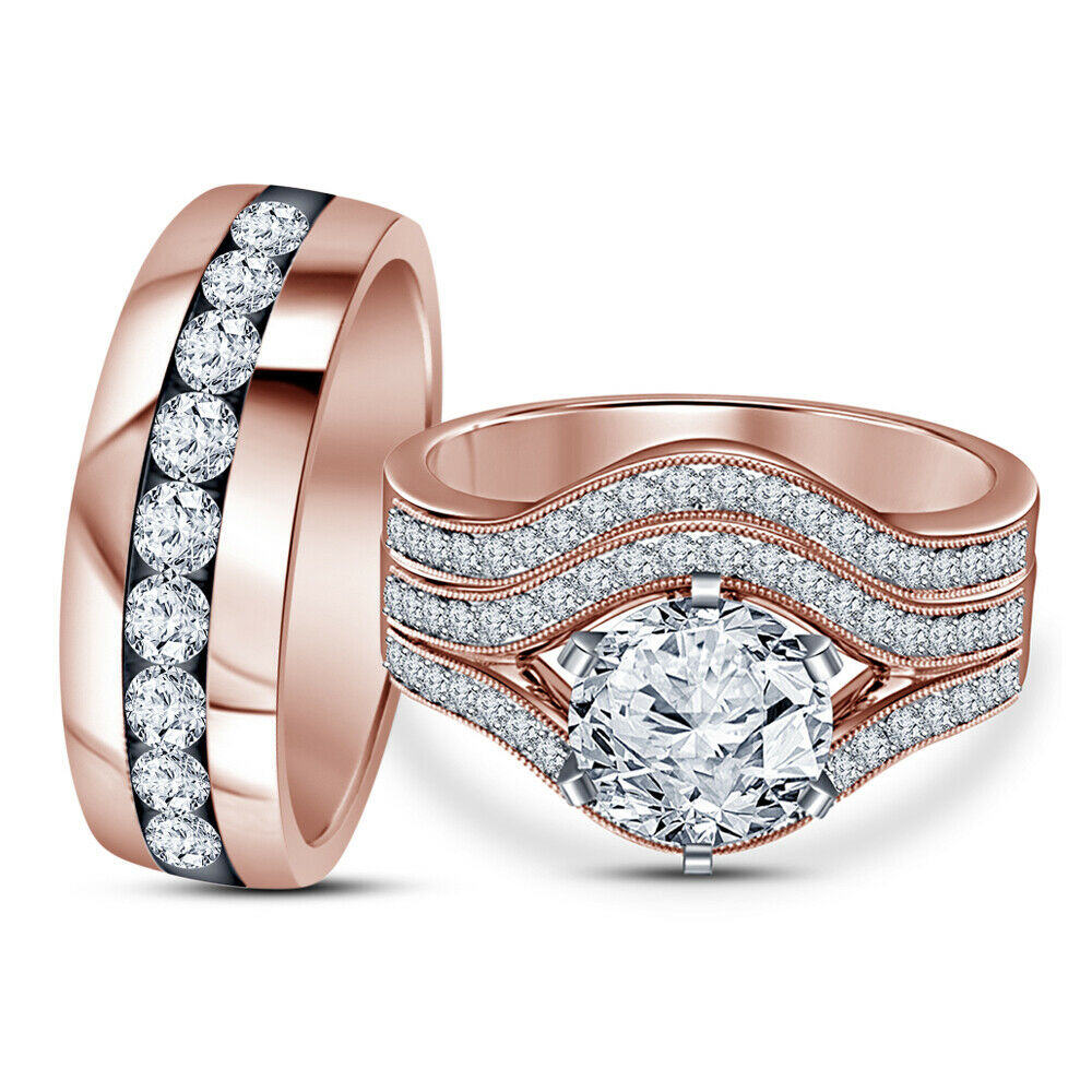 His Her Engagement Wedding Trio Ring Set 2.50CT Round Diamond 14K pink gold Over