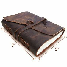 Leather Journal Writing Notebook, Antique Handmade Leather Bound Daily Notepad &
