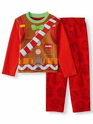 Fortnite Pajamas Size 10 Boys Merry Marauder Gingerbread Man Christmas Holiday L