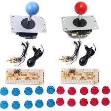 Arcade MAME DIY Kits 2x USB Encoder Board w/ 2x PC Joystick w/ 20 Push Buttons