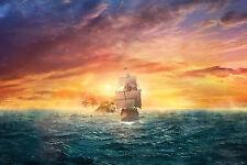 Incorniciato stampa-pirata nave che naviga lontano dall' isola teschio (PICTURE POSTER Ocean)