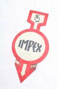 Muy-Rareza-IMPEX-Letrero-de-Metal-Old-Cartel-Vintage-Bicicleta-antes-1945