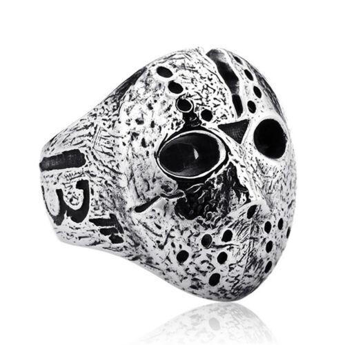 WO/_ Punk Rock Men Black Friday Jason Hockey Mask Horror Skull Finger Ring Jewelr