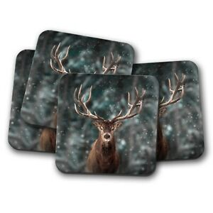 4-Set-Majestic-Stag-Coaster-Deer-Winter-Wild-Animal-Forest-Dad-Gift-15336