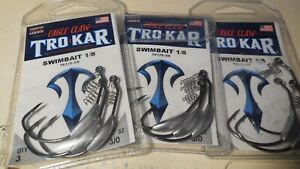 3 packs Eagle claw TroKar  swimbait 1/8 oz.