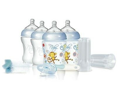Pink//Aqua 270 ml Nuby Natural Touch Anti-Colic Bottles Pack of 4