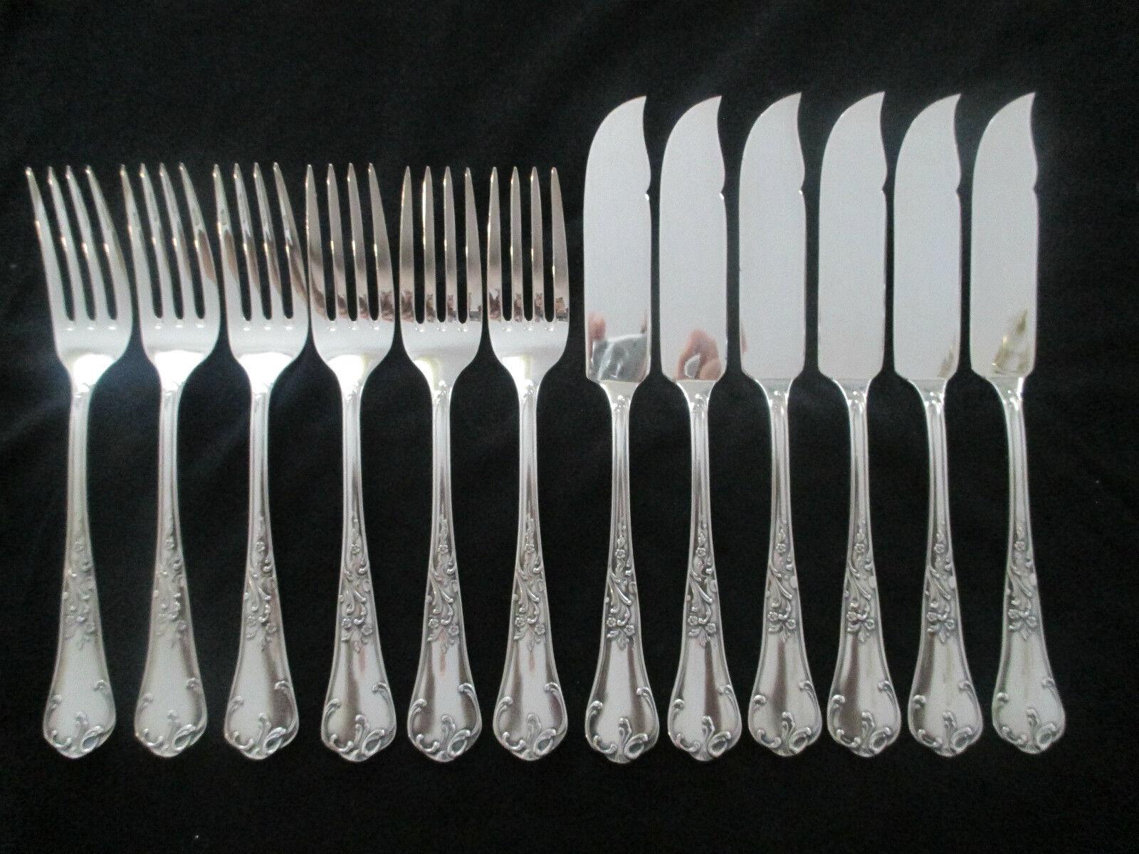 WMF Abbeville 9200 Rococo Argent 90 poisson couverts 6 POISSON Couteau 6 Poisson Fourche Top