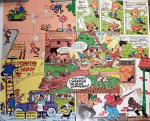 Hergé, Franquin, Morris.. série de 10 autocollants Opération 48 81 00 Comme neuf