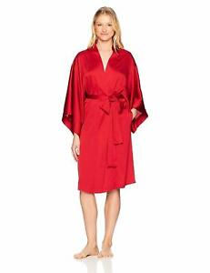 NEW-NWT-Natori-Women-039-s-Feathers-Satin-Silky-Belt-Robe-Solid-Red-Sz-Small-S-4-6