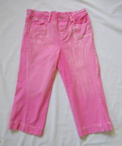 MOTHERHOOD-Trendy-Pink-Maternity-Capri-Jeans-Bleached-Distressed-SMALL-4-6