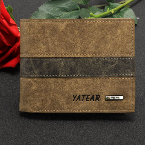 Mens Luxury Quality Leather Wallet Credit Card Holder Purse Brown Slim