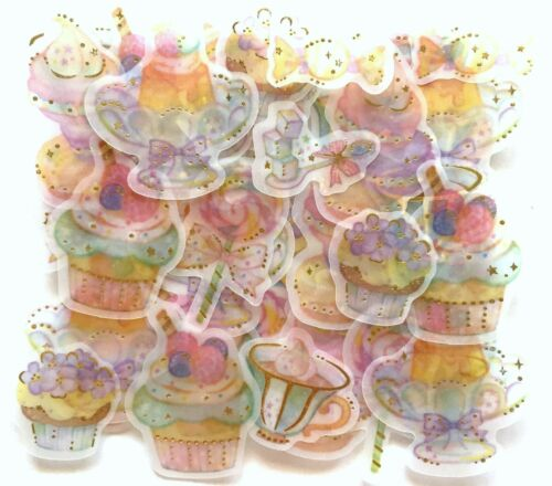 Lovely Kawaii Sweets Flake Sticker 48 Food Cake Pudding Candy Lollipop Tea JAPAN