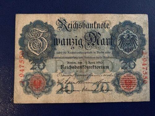 VERY FINE//3// 20 MARK 1910 GERMANY