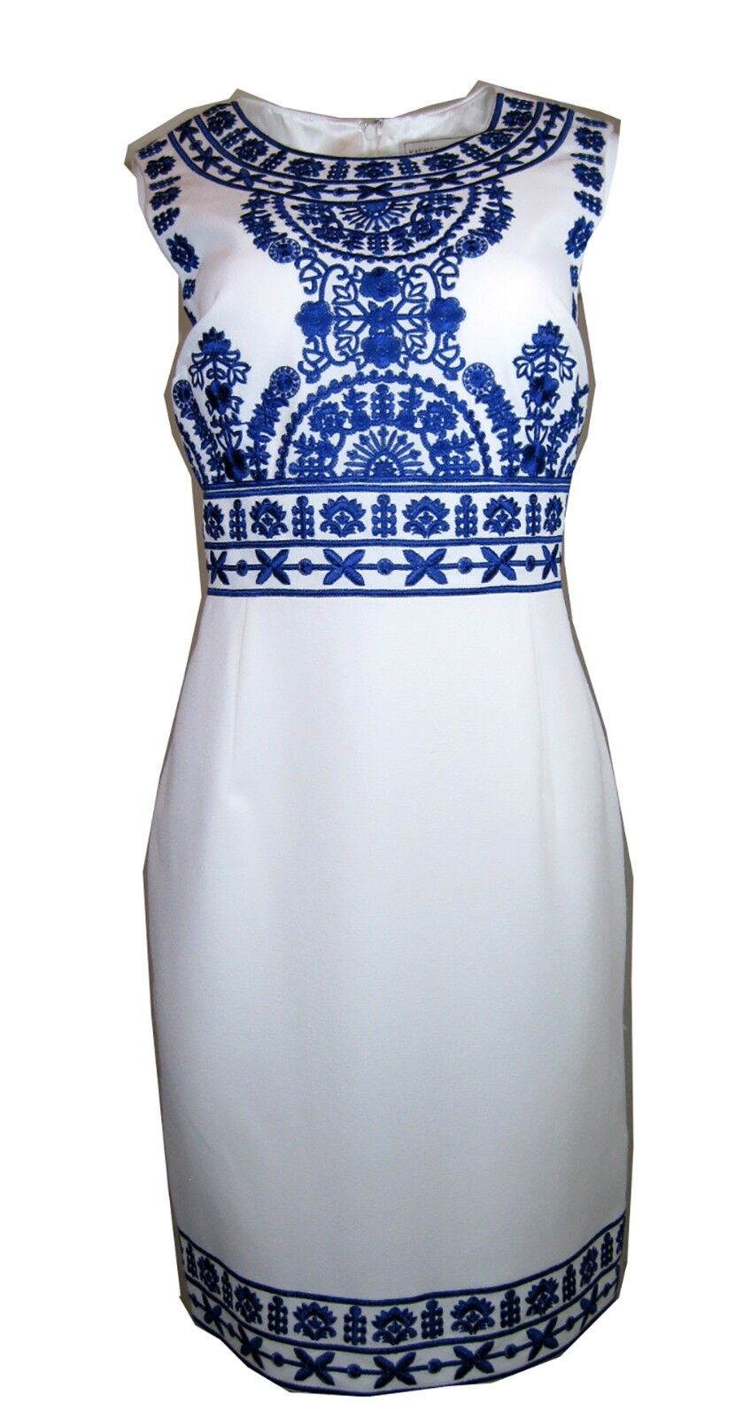 Katherine Kelly Embroidered Jacquard Dress, Ivory Cobalt, Size-4